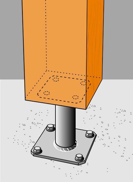 le pied de poteau simpson pour la fixation de la charpente couverture facile. Black Bedroom Furniture Sets. Home Design Ideas